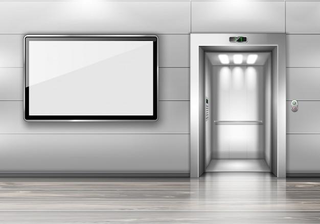 Ascensor realista con puerta abierta y pantalla de tv