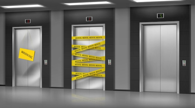 Ascensores rotos cerrados para reparación o mantenimiento