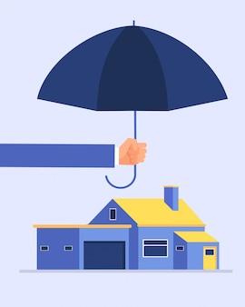 Asegurador mano sosteniendo paraguas sobre casa. concepto de negocio de vector de seguro de protección de casas