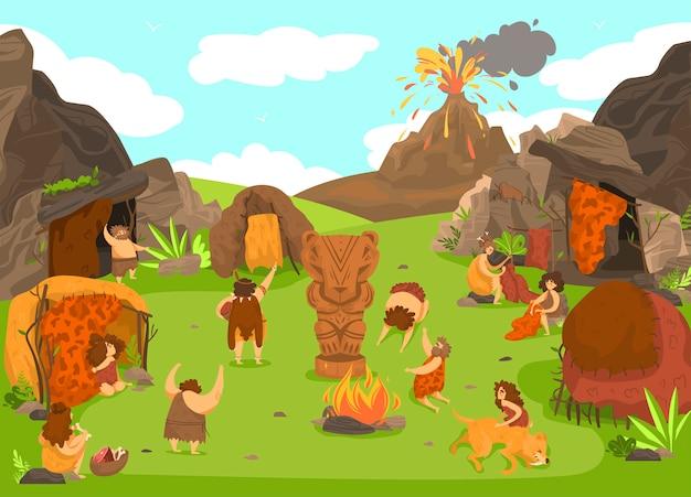 Asentamiento de personas primitivas prehistóricas, personajes de dibujos animados de la tribu de la edad de piedra, erupción del volcán, ilustración