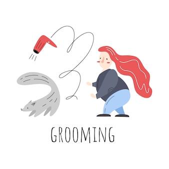 Aseo. ilustración de vector con mujer, perro y secador de pelo.
