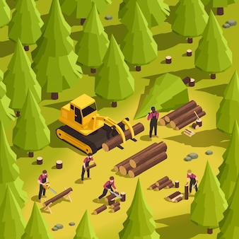 Aserradero en el bosque con leñadores trabajando con madera y transportando troncos ilustración isométrica