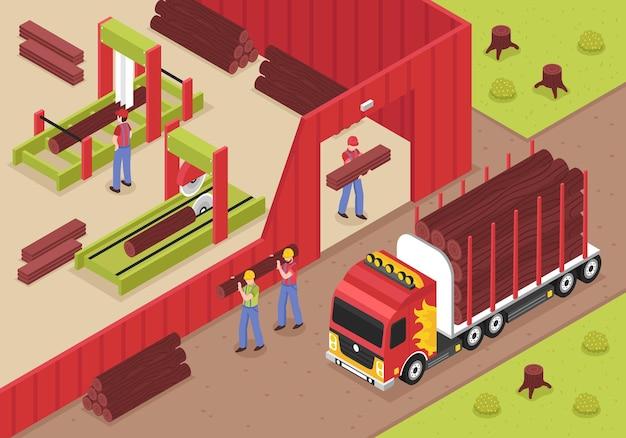 Aserradero isométrico con trabajadores varones descargando troncos de camiones para cortar y trabajar la madera