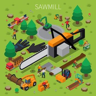 Aserradero timber mill leñador composición isométrica