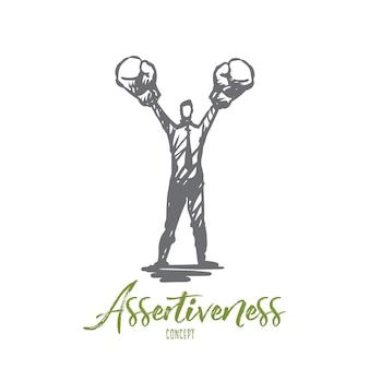Asertividad, éxito, trabajo, competencia, concepto de motivación. bosquejo del concepto de empresario resuelto dibujado a mano.