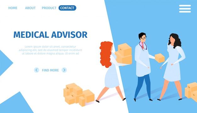 Asesor médico banner horizontal. infografia