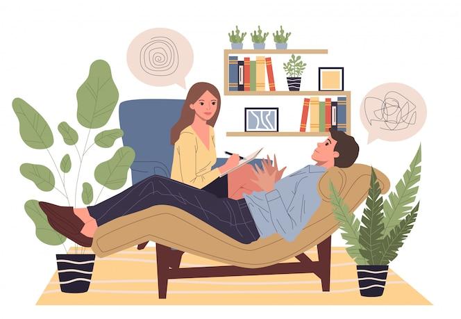 Asesoramiento al paciente con ilustración de psicólogo