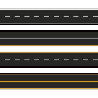 Asfalto. conjunto de tipos de carreteras con marcas. diseño de plantilla de franja de carretera para infografía. ilustración