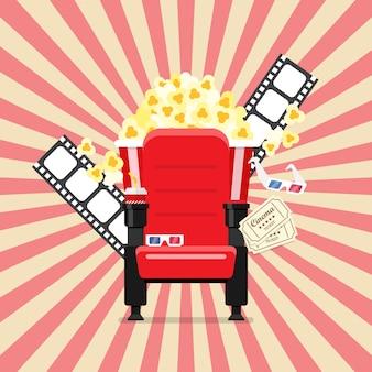 Asientos de cine en un cine con palomitas de maíz y vasos