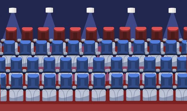 Asientos de cine cómodos y vacíos asientos de escenario interior de cine moderno en fila plana