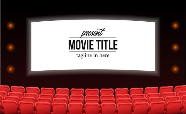 Asientos rojos vacíos en la película del teatro anuncian el concepto de plantilla de película