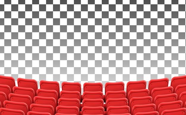 Asientos rojos vacíos en la película del teatro delantero aislada