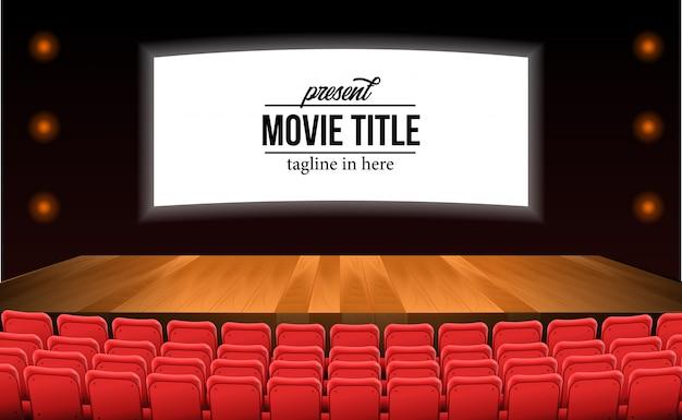 Asientos rojos vacíos en la película de teatro con piso de madera del escenario. plantilla de título de película