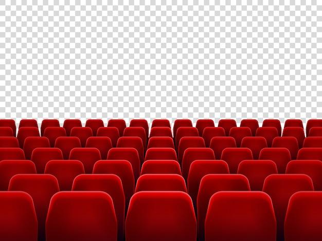 Asientos en sala de cine vacía, silla de asiento para sala de proyección de películas.