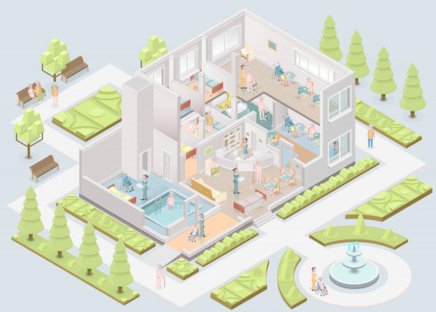Asilo de ancianos. instalaciones de vivienda asistida. ilustración