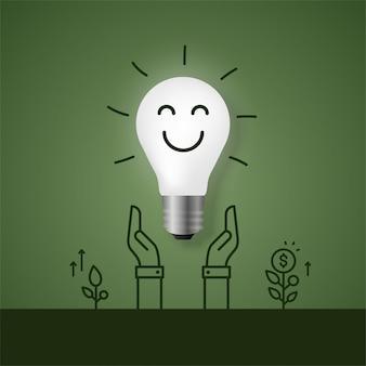Asimiento de la mano creciente bombilla, concepto de ahorro de energía ecológica