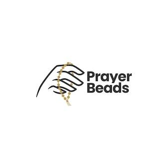 Asimiento de la mano plantilla de logotipo de cuentas de oración
