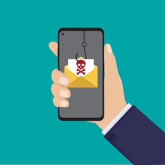 Asimiento de la mano teléfono inteligente y mensaje de phishing, ilustración plana