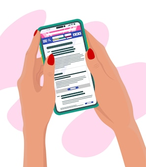 Asimiento de la mano teléfono móvil leyendo noticias en línea