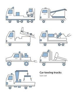 Asistencia en carretera de camión de remolque de coche. ilustración de vector lineart para icono, logotipo