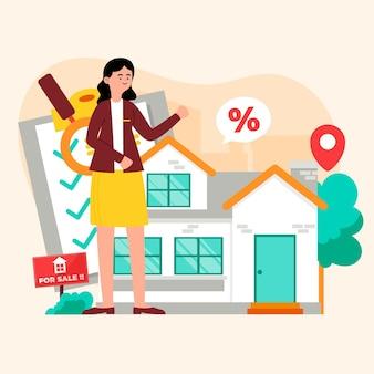 Asistencia inmobiliaria mujer ilustrada