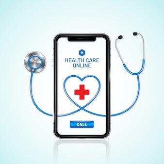 Asistencia sanitaria y médica online, teléfono y estetoscopio.