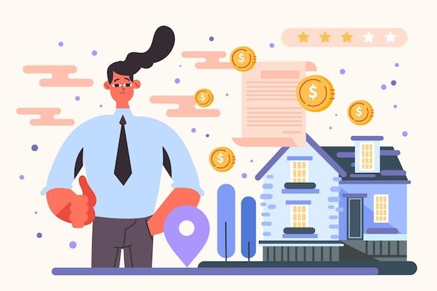 Asistente de agente inmobiliario ilustrado