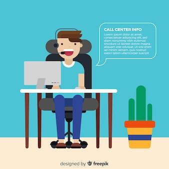 Asistente de centralita ayudando a clientes
