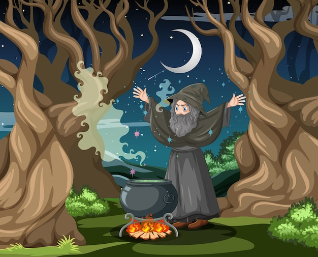 Asistente con estilo de dibujos animados de olla de magia negra sobre fondo de bosque oscuro