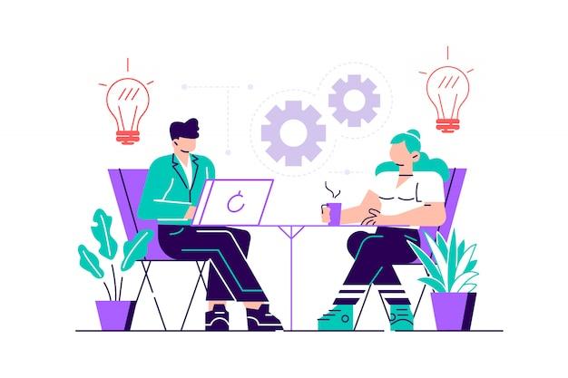 Asistente de internet en el trabajo. promoción en la red. gerente de trabajo remoto, trabajo en equipo en el proyecto, lluvia de ideas.