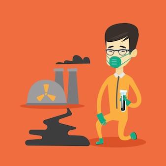 Asistente de laboratorio con tubo de ensayo.