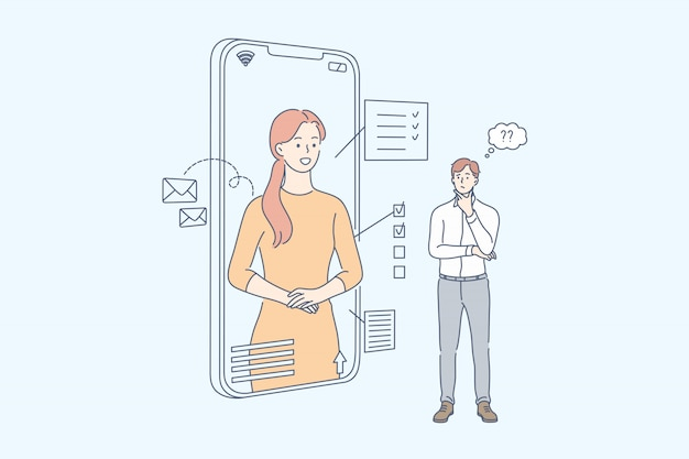 Asistente en línea, tecnología inteligente, comunicación, concepto de negocio.