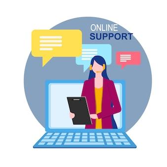 Asistente de la mujer en la pantalla del portátil soporte técnico en línea