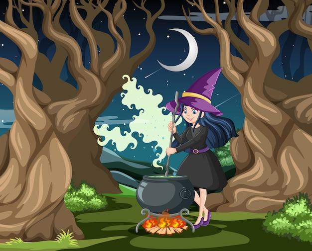 Asistente o bruja con olla mágica sobre fondo de bosque oscuro