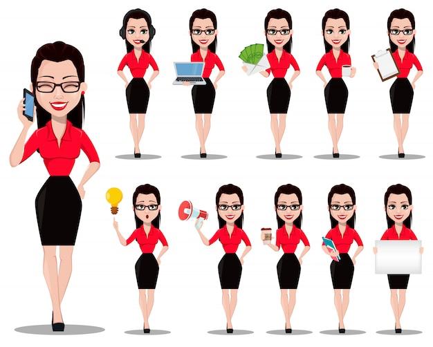 Asistente de oficina hermosa en ropa de estilo de oficina
