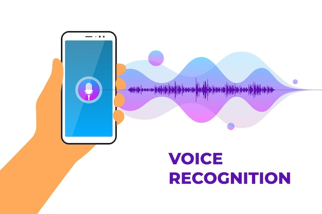 El asistente personal y la aplicación móvil de reconocimiento de voz sostienen el teléfono inteligente con el botón del micrófono encendido