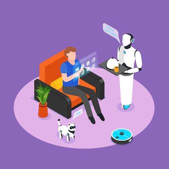 El asistente robótico humanoide controlado con panel holográfico sirve una composición de fondo isométrica de comida para residentes inteligentes en el hogar