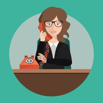 Asistente de servicio de soporte en la oficina