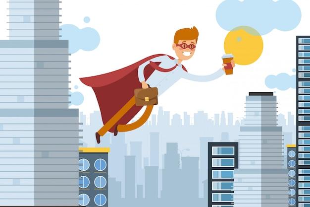 Asistente de superhéroe vuela para trabajar con café para llevar, ilustración de trabajador de negocios. hombre en manto se mueve por el aire