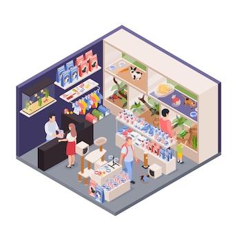 Asistente de tienda de mascotas exóticas detrás del mostrador vista interior isométrica con recintos de animales accesorios de comida clientes