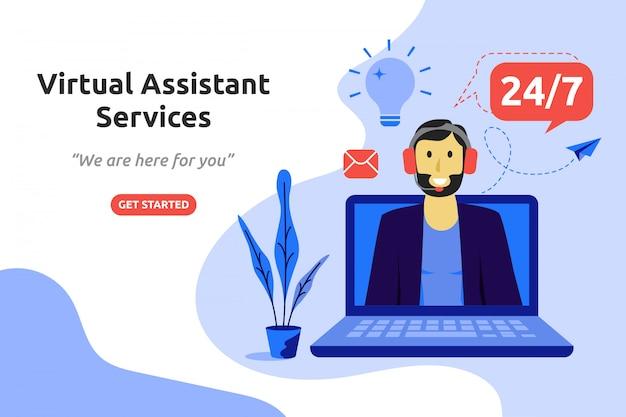 Asistente virtual concepto de servicios moderno diseño plano.