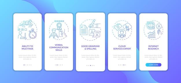 Asistente virtual habilidades pantalla de página de aplicación móvil de incorporación azul oscuro con conceptos