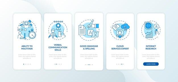 Asistente virtual habilidades pantalla de página de aplicación móvil de incorporación azul