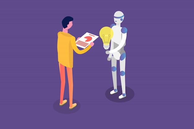 Asistente virtual en línea, chat bot concepto isométrico. ilustración.