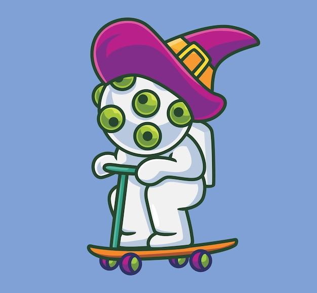 Asistente de virus lindo jugando scooter ilustración de halloween de dibujos animados aislado estilo plano adecuado para