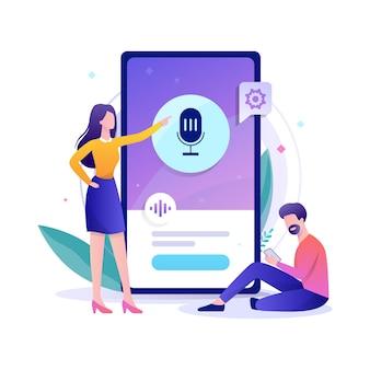 Asistente de voz en el concepto de teléfono móvil.