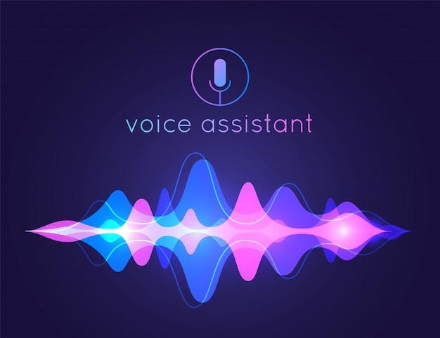 Asistente de voz de onda de sonido. tecnología de control de voz por micrófono, reconocimiento de voz y sonido. asistente de ai fondo de voz