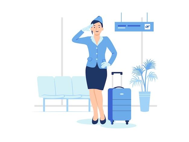 Asistente de vuelo azafata de pie con su equipaje en la terminal del aeropuerto lista para una ilustración de concepto de vuelo