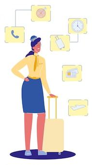 Asistente de vuelo con maleta ilustración vectorial