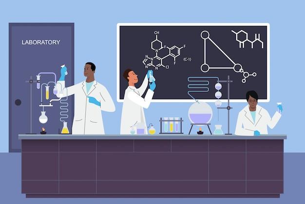 Los asistentes de jóvenes científicos de laboratorio trabajan en laboratorio científico médico químico o biológico haciendo experimentos ilustración